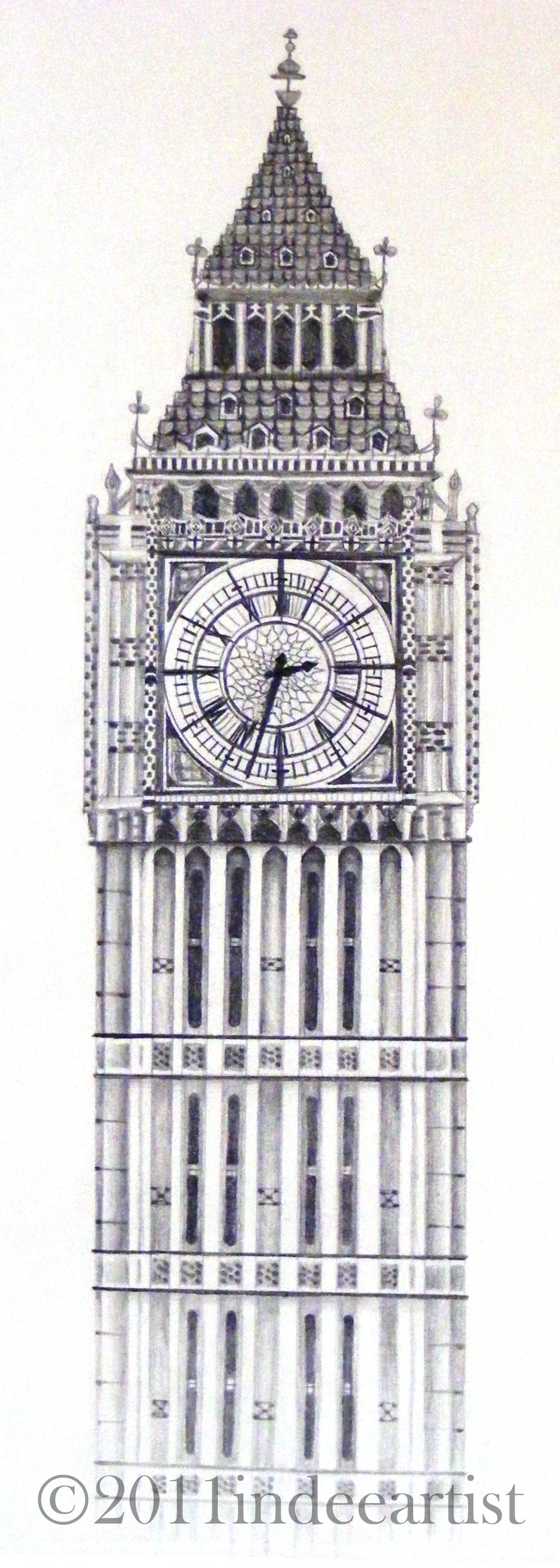 Artwork Collection 056CRLondon Clock Tower Drawing