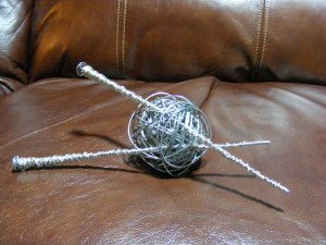 Ball of Yarn with Knitting Needles.Gifted to a friend.